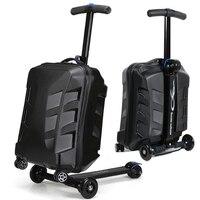 Новый дизайн 21 дюймов TSA замок скутер Чемодан Алюминий чемодан с колесами скейтборда Rolling Чемодан проезд троллейбусом случае