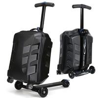 Новый дизайн 21 дюймов TSA замок сумка в виде скутера Алюминиевый Чемодан с колеса скейтборда Rolling Чемодан Дорожный чемодан тележка