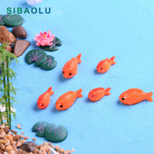 8pc/lot Red Fish miniature figures decorative mini fairy garden animals Moss micro landscape ornaments resin baby toy
