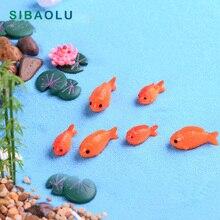 8 pc/lote Peixe Vermelho figuras em miniatura mini decorativa Musgo micro paisagem resina ornamentos brinquedo do bebê animais do jardim de fadas