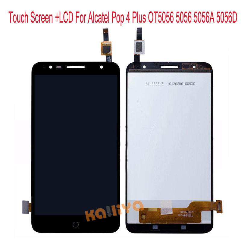 New For Alcatel Pop 4 Plus OT5056 5056 5056A 5056D LCD Display+Black 5.5 Touch Screen Digitizer Assembly Replacement For OT5056 alcatel ot 4035d pop d3 dual black fashion blue