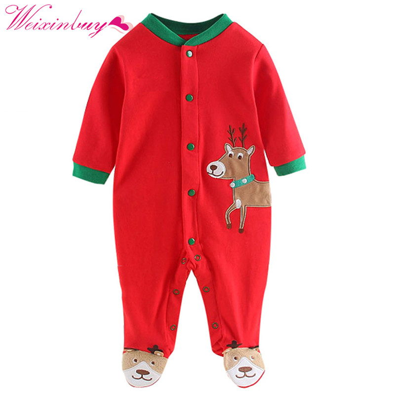 Merry Christmas Newborn Baby Boy Girl Rompers Cotton Deer Baby Boy Clothing Sets Printed Jumpsuits Baby Christmas Clothes merry christmas deer removable showcase wall stickers