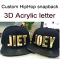 PU Viseira Snapbacks Personalizado 3D letras de acrílico Ouro Hip Hop NOME DIY Carta Adulto PU chapéus Personalidade 5 bonés de beisebol