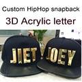 PU Visor Snapbacks Custom 3D acrylic letters Golden Hip Hop DIY NAME Letter Adult PU hats Personality 5 baseball caps