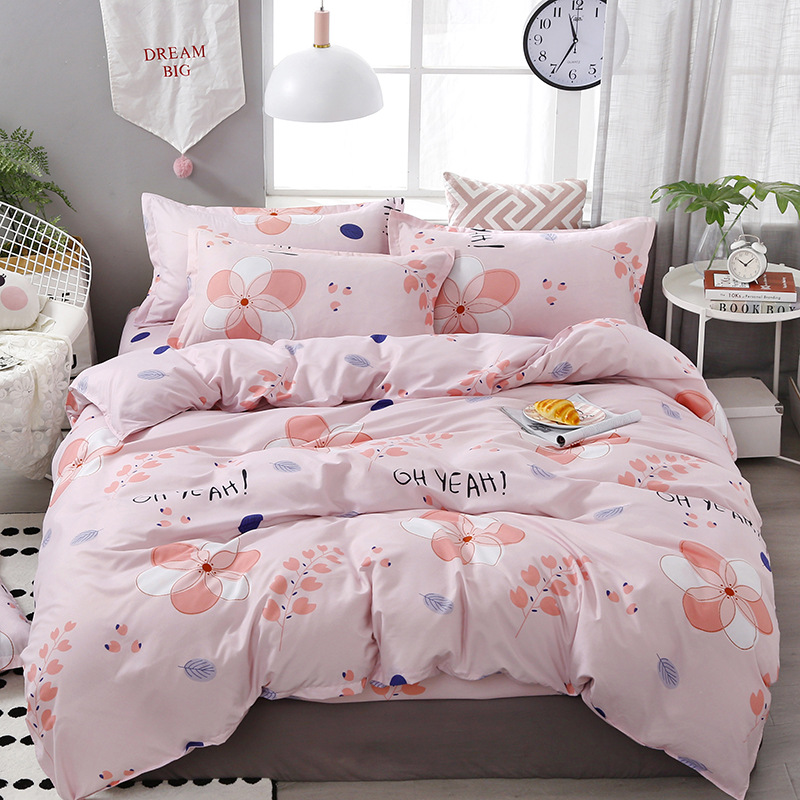FUNBAKY 3/4pcs/Set Flowers Pink Comforter Kids Bedding Set Cotton Duvet Cover Set Pillowcase Home Textile(China)