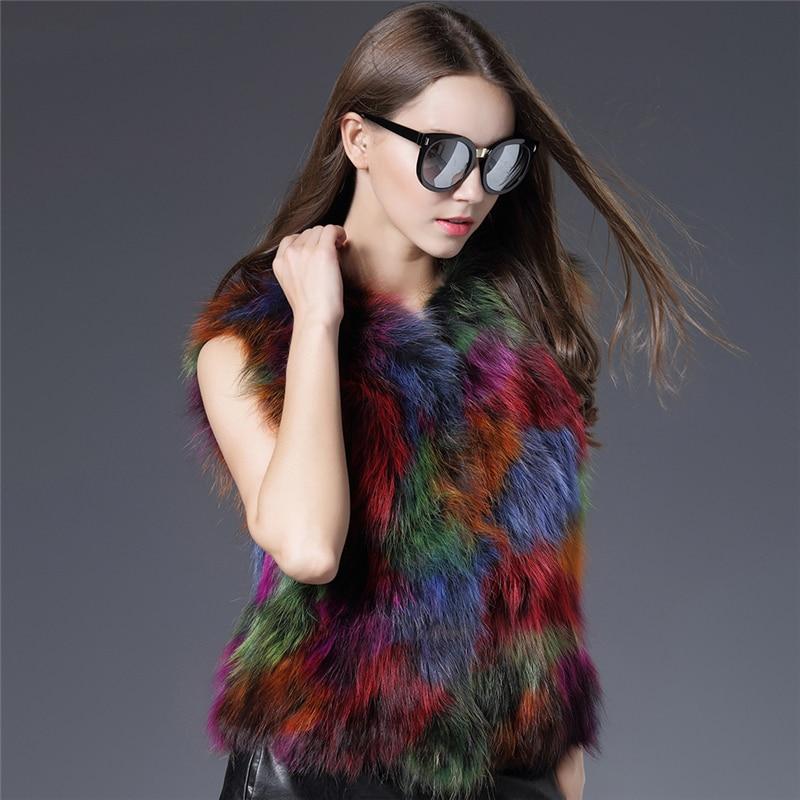 Mode Gilet Noir De Outwear 2017 Nature Raton Hiver Femmes Fourrure Chaud Nouvelle Veste Chien Réel Coloré Laveur p0aSzq