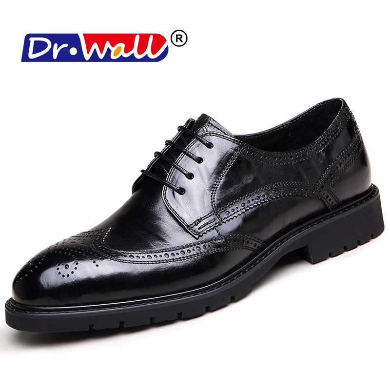 Hot Sale Derby Men Lace-up Formal Dress Slip-on Shoes Luxury Brand Leather Breathable Casual Black Brogue British Fashion Shoes serene brand cow leather boat shoes men casual lace up shoes lightweight breathable loafers slip on shoes men dress shoes 6200