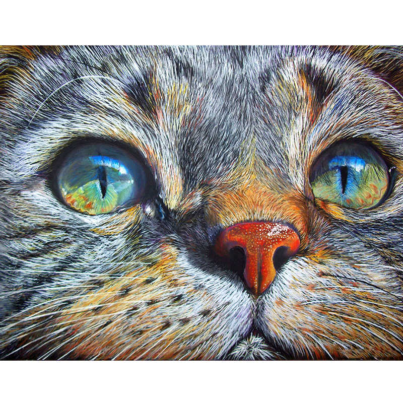 "Full Drill Square Diamond 5D DIY Diamond Painting""Cat face""Diamond Embroidery Cross Stitch Rhinestone Mosaic Painting XU"