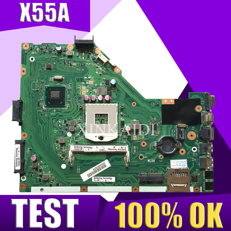 XinKaidi  X55A Laptop Motherboard For ASUS X55A NoteBook Computer Test Original Motherboard HM70 REV 2.1/2.2
