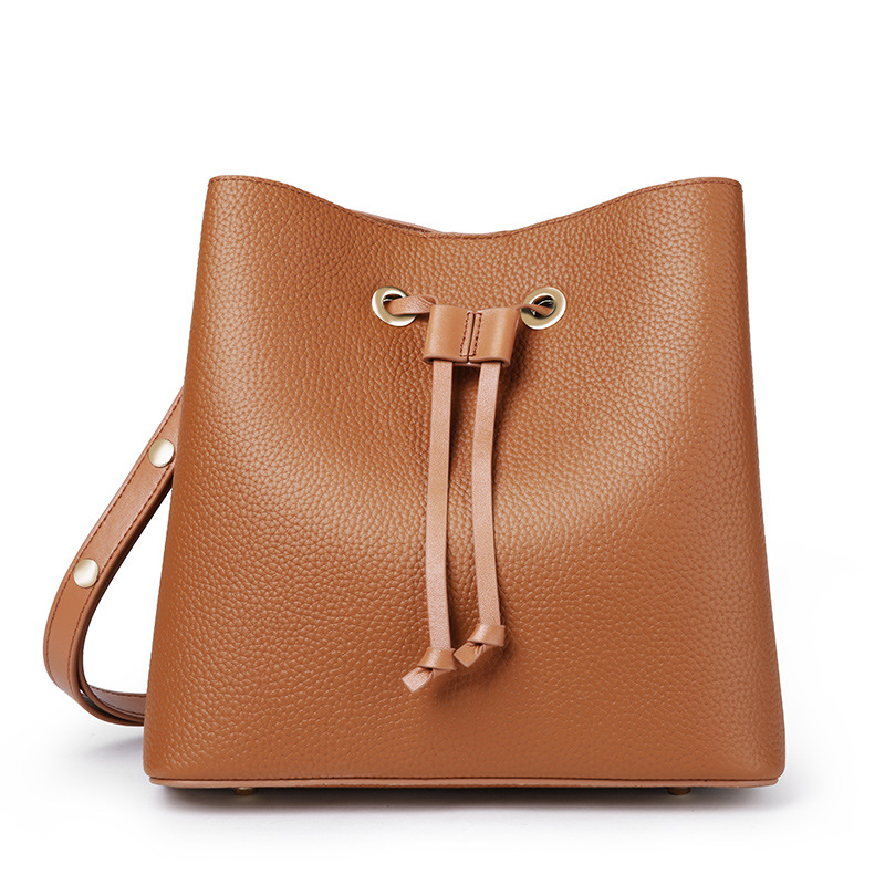 2018 New Women Bucket Bags Lady Cowhide Genuine Leather Shoulder Messenger Bags Female Simple Fashion Casual String-Opening Bags genuine leather fashion women handbags bucket tote crossbody bags embossing flowers cowhide lady messenger shoulder bags