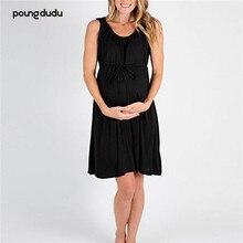 Poungdudu Материнство беременных женщин платье круглый вырез обтягивающий без рукавов жилет стрейч большое платье для беременных женщин