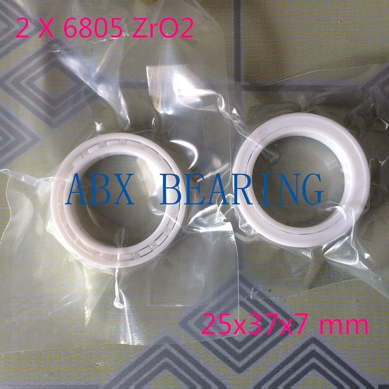 2pcs/lot 6805 61805 full ZrO2 ceramic deep groove ball bearing 25x37x7mm bike bearing,MTB bicycle bearing
