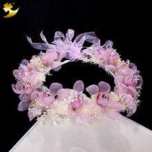 Filles À La Main Fleur Bandeau Cristal Mariage Conservé fleur Bandeaux fleur couronne de cheveux de mariage accessoires pour femmes 89312