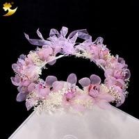 Manufacturer 100 Handmade Crystal Dried Natural Flower Garland Flower Crown Wedding Hair Accessories For Women