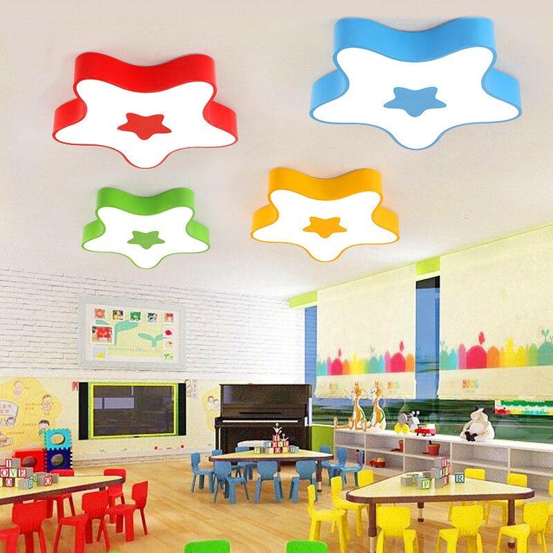 Créatif couleur étoiles LED plafonnier enfants lampe bande dessinée étoiles de mer chaud chambre plafond kinder maternelle plafonniers