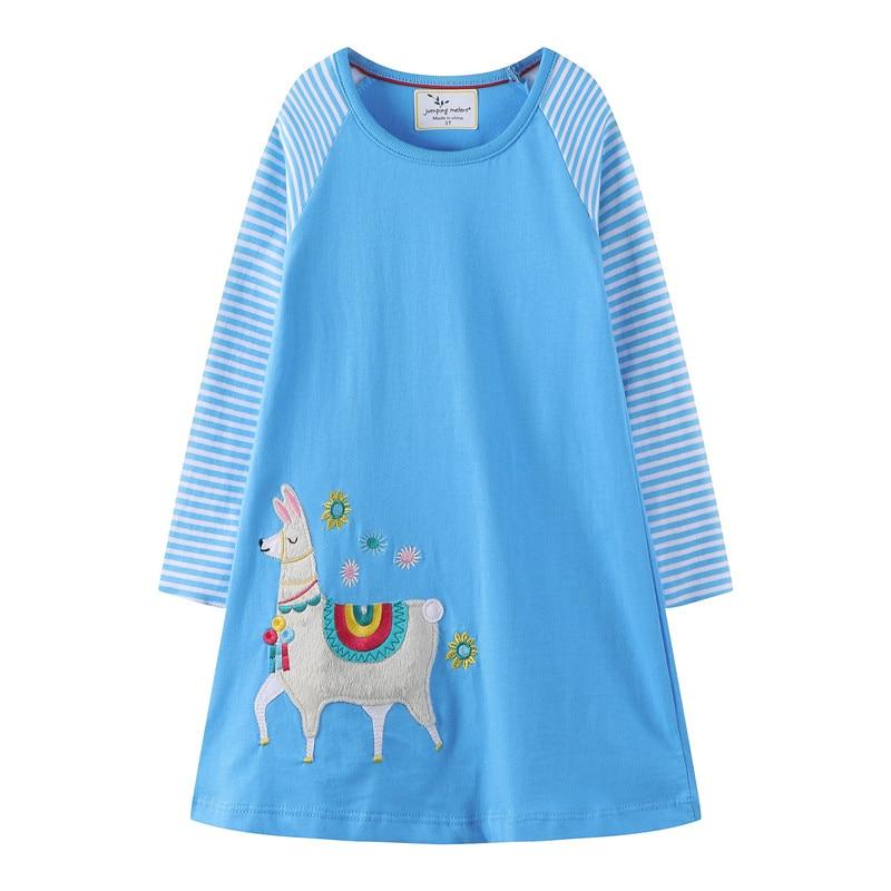 Mädchen Kleidung Nachdenklich Springen Meter Tiere Applique Kid Kleider Kleinkind Mädchen Baumwolle Kleider Langarm Prinzessin Neue Ankunft Kinder Mädchen Kleider Kleider