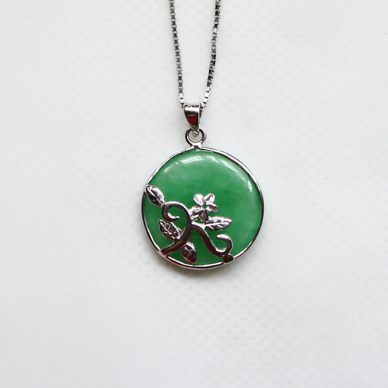 Chinese flower jade necklaces pendants sterling silver jewelry chinese flower jade necklaces pendants sterling silver jewelry meaning happiness chinese 925 sterling silver necklace in necklaces pendants from jewelry aloadofball Image collections