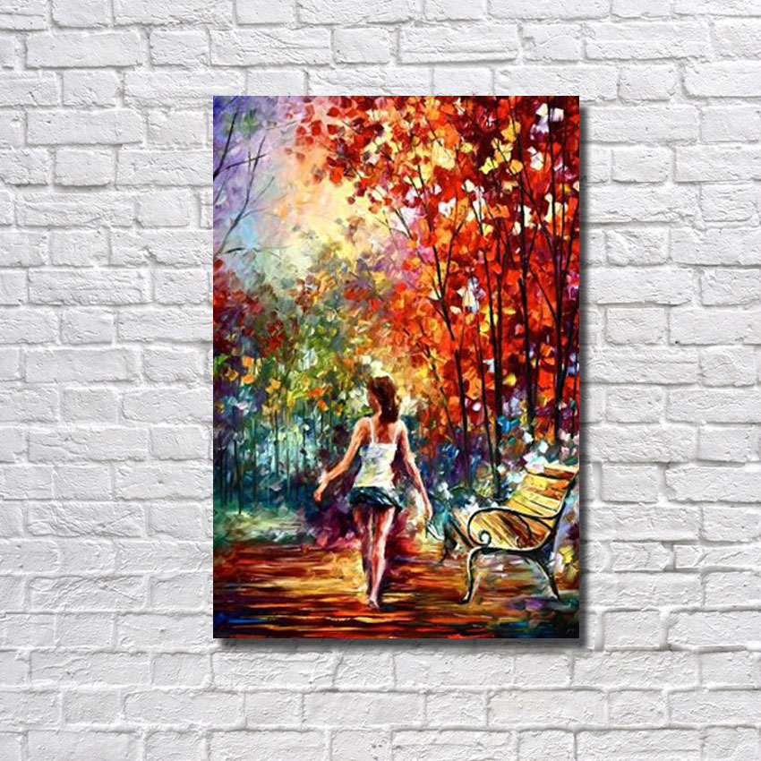 Hot sale colorful barefooted stroll oil painting handed for Canvas art on sale