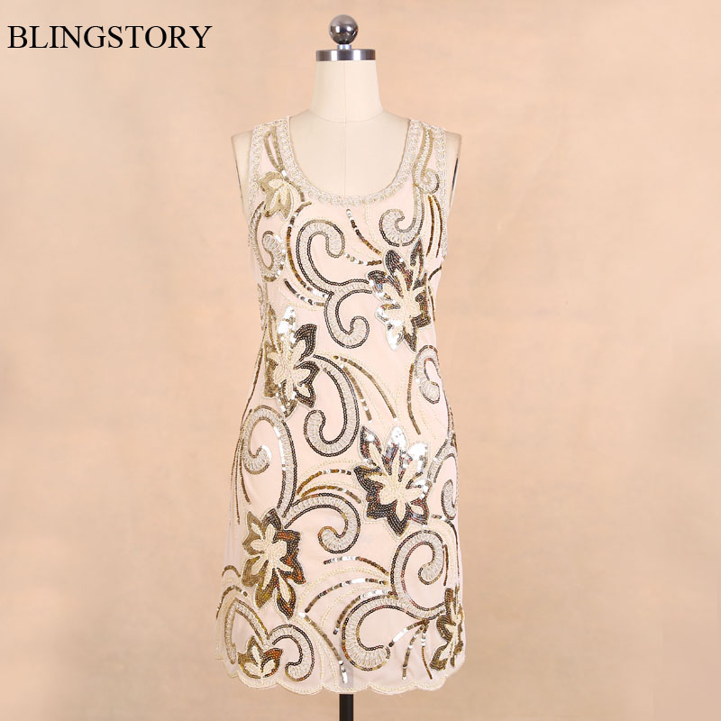 Buy Cheap BLINGSTORY New Arrival Fashion Exquisite Embroidery Sequin woman flower dress Dress vestido mexicano KR3075-1