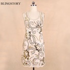 Cheap BLINGSTORY New Arrival Fashion Exquisite Embroidery Sequin woman flower dress Dress vestido mexicano KR3075-1