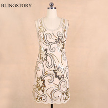 BLINGSTORY New Arrival Fashion Exquisite Embroidery Sequin woman flower dress Dress vestido mexicano KR3075-1