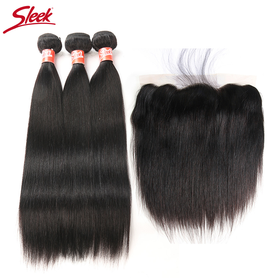 Sleek Peruvian Straight Hair 13x4 Lace Frontal Closure With Bundles Human Hair 3 Bundles With Closure