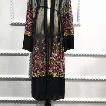 Plus Size Long Shirt Women Kimono Plage Mujer 2020 Boho Floral Embroidery Chiffon Mesh Blouse