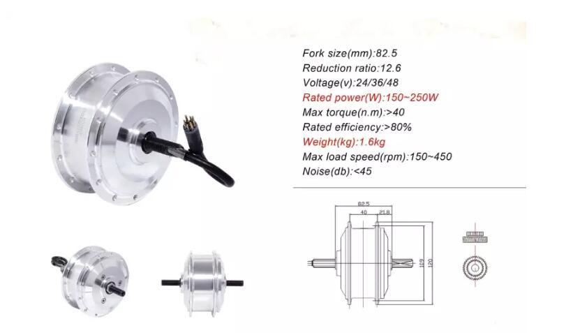 Moteur électrique de moyeu de roue de 36 V 250 W AKM pour la conversion d'ebike