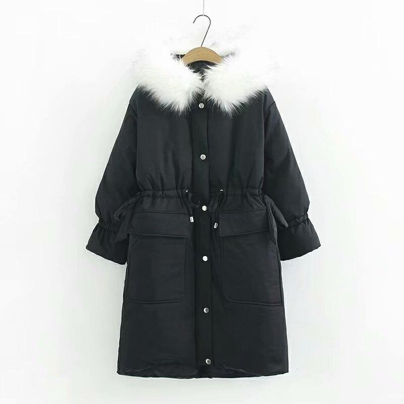 Grand De Fourrure Vers Le Bas Veste D'hiver Femmes Nouvelle Mode Lâche À Capuchon Vers Le Bas Coton Rembourré Veste Manteau Femelle Long et Épais Parkas Outwear