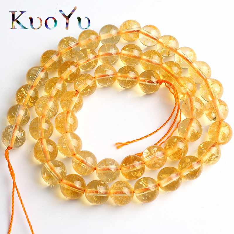 Natural Yellow Crystal Citrines Quartz Beads Round Loose Spacer Beads For DIY Making Bracelet Necklace Jewelry 15'' 4/6/8/10mm