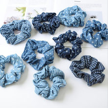 2019 Light Color Elasticity Scrunchie Women Girls Hair Rope Tie Fashion Blue Plaid Elastic Hair Band Ponytail Holder Hairband(China)