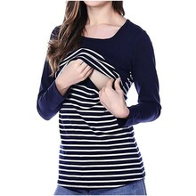 Fashion Striped Maternity Nursing Shirts Breastfeeding T-shirt Breast Feeding Tops Clothes for Pregnant Women Nursing Tshirts