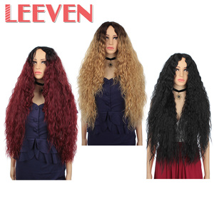 Image 5 - Leeven Hair Synthetic Ombre Blonde Black Red Wig 30 Inch Long Wavy African American Wigs For Women High Temperature Fiber