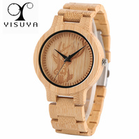 YISUYA Full Bamboo Wooden Watch Men Casual Deer Head Dial Nature Wood Creative Watches Simple Analog Modern Clock Christmas Gift