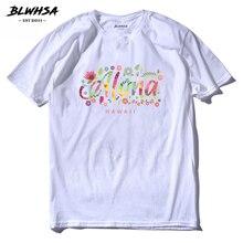 BLWHSA Summer ALOHA Hawaii T Shirts Men Casual Short Sleeve Cotton Printed T -Shirt 5dc913b8e414