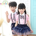 Children School Clothes Girls Boys School Uniforms Sets Cotton T-shirt +Half Pants Tutu Skirt Sets Boys Performing Suits C003