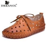 DRKANOL 2018 Spring Summer Genuine Leather Women Shoes Handmade Sewing Women Flat Casual Shoes Breathable Round