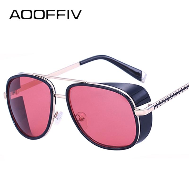 AOOFFIV 2017 Iron Man 3 Ματσούδα Tony Steampunk Γυαλιά ηλίου Γυαλιά ηλίου Mirrored Designer Γυαλιά Ηλίου Retro Vintage Γυαλιά ηλίου