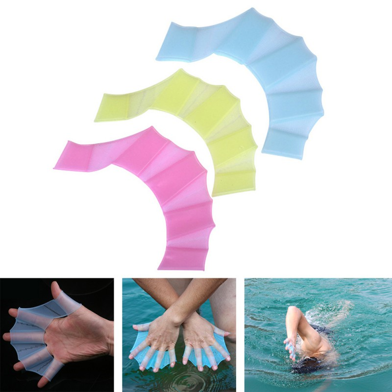 Unisex Frog Type Silicone Girdles Swimming Hand Fins Flippers Palm Finger Webbed Gloves Paddle Water Sports