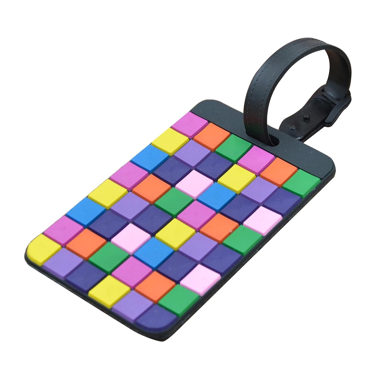 Portable Secure Travel Suitcase ID Luggage Handbag Large Tag Label (Yellow+Purple)