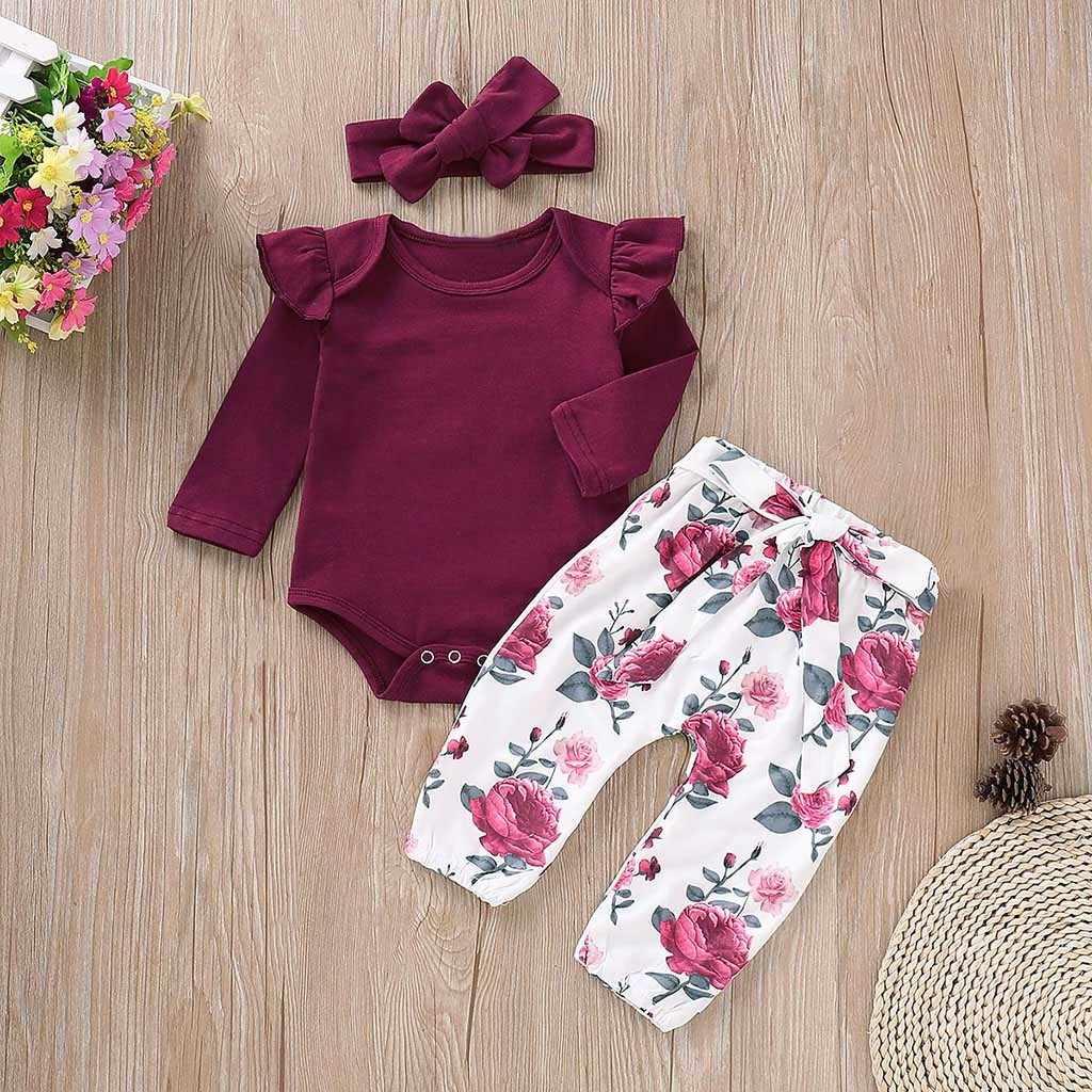 6987e80c9 Recién Nacido bebé niñas de manga larga mono mameluco Floral pantalones  diademas trajes conjunto ropa niña