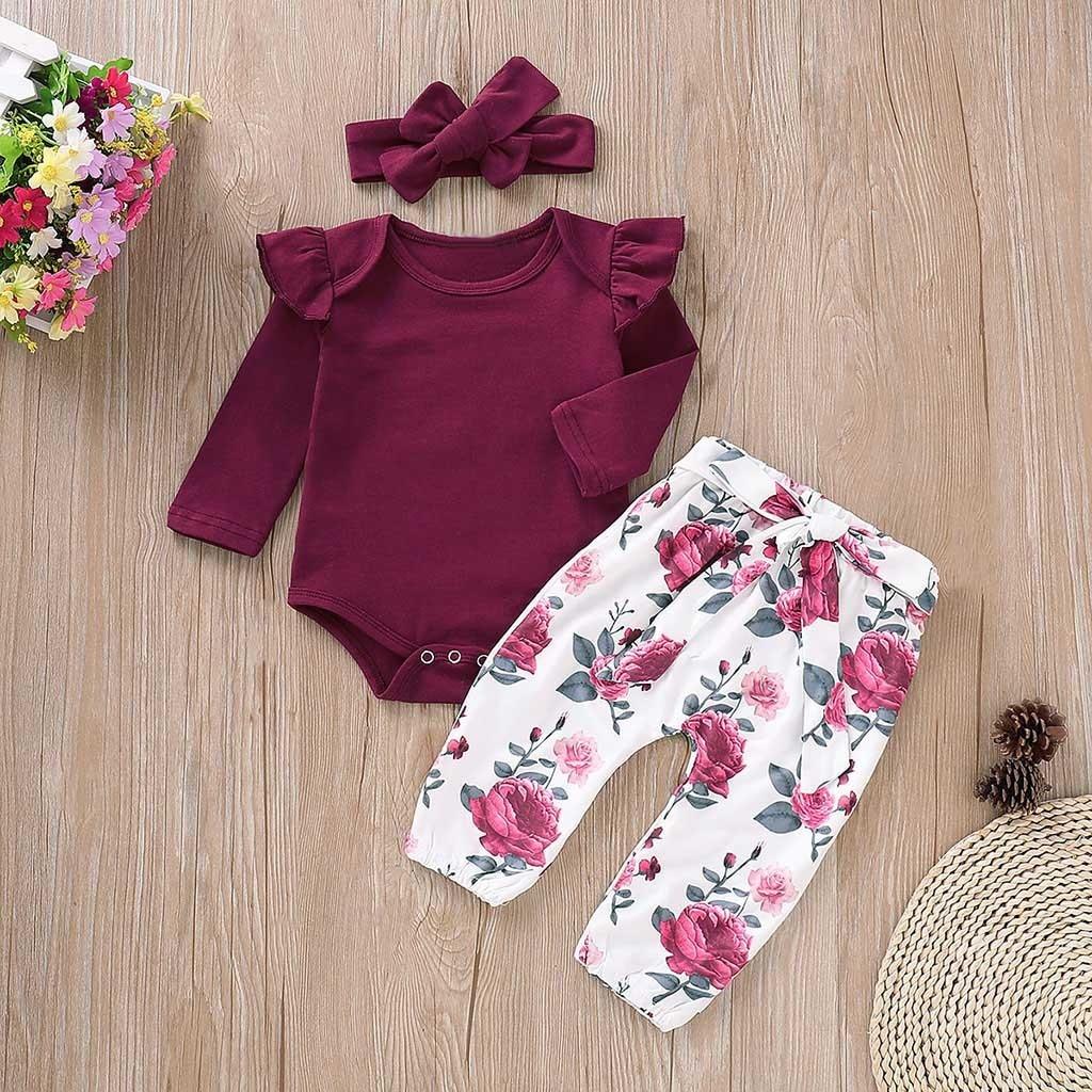 Conjuntos para Ni/ña Invierno Bodies Manga Larga Color Liso Pantalones Largos Estampado Floral Moderno Diadema con Lazo para Ni/ña 0-24 Meses