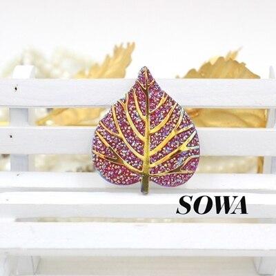 En gros 3 Pcs/lot jaune/rose/rouge AB couleur 33*39mm feuilles résine dos plat ferraille réservation pour bricolage téléphone/décoration de mariage