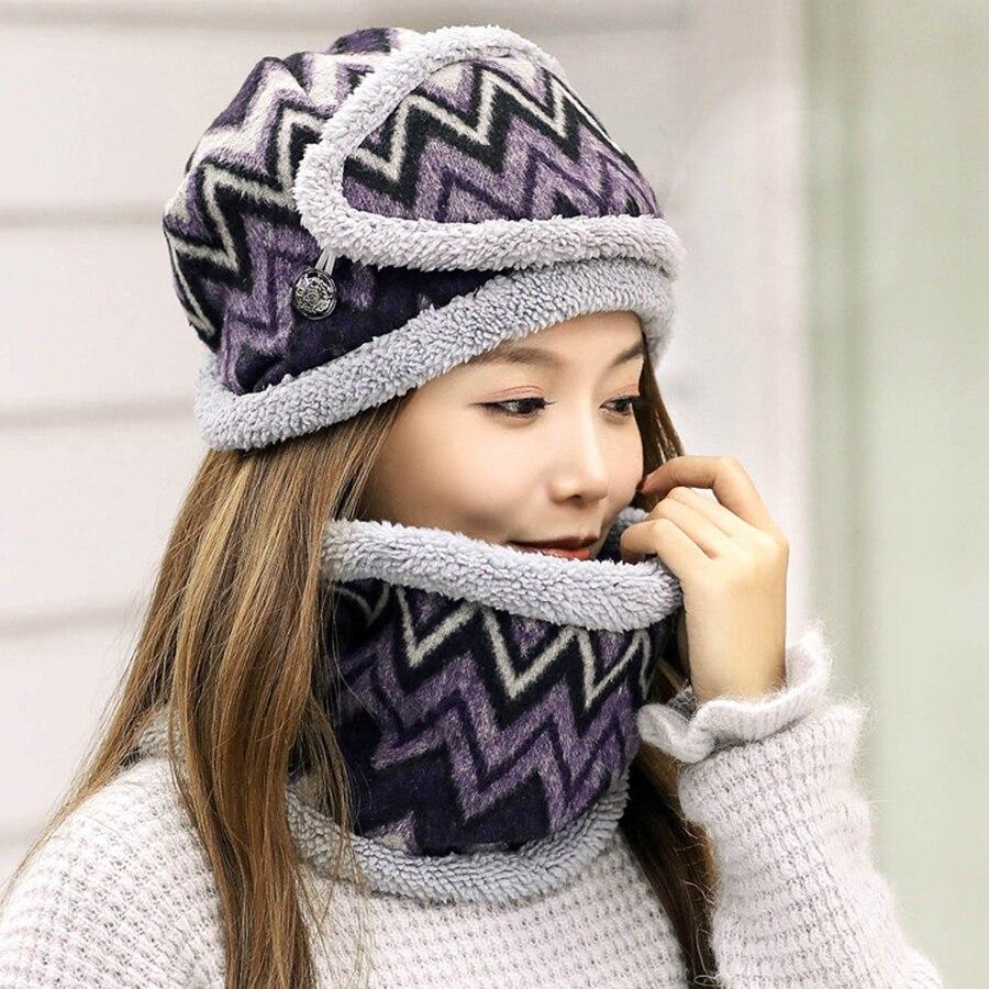 Winter Schnee Tragen Maske + Kragen + Plüsch Hut Drei Pc Sets Welle Druck Warme Mädchen Kappe Schal Anzüge Frauen Hüte Zubehör Ring Schal 100% Original