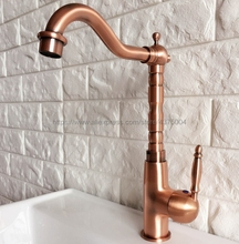 Antique Red Copper Faucet Retro Style Basin Faucet Rotating Single Handle Single Hole Hot And Cold Water Tap Nnf413 a1002 single ended table style angle faucet pure copper water nozzle laboratory water tap faucet