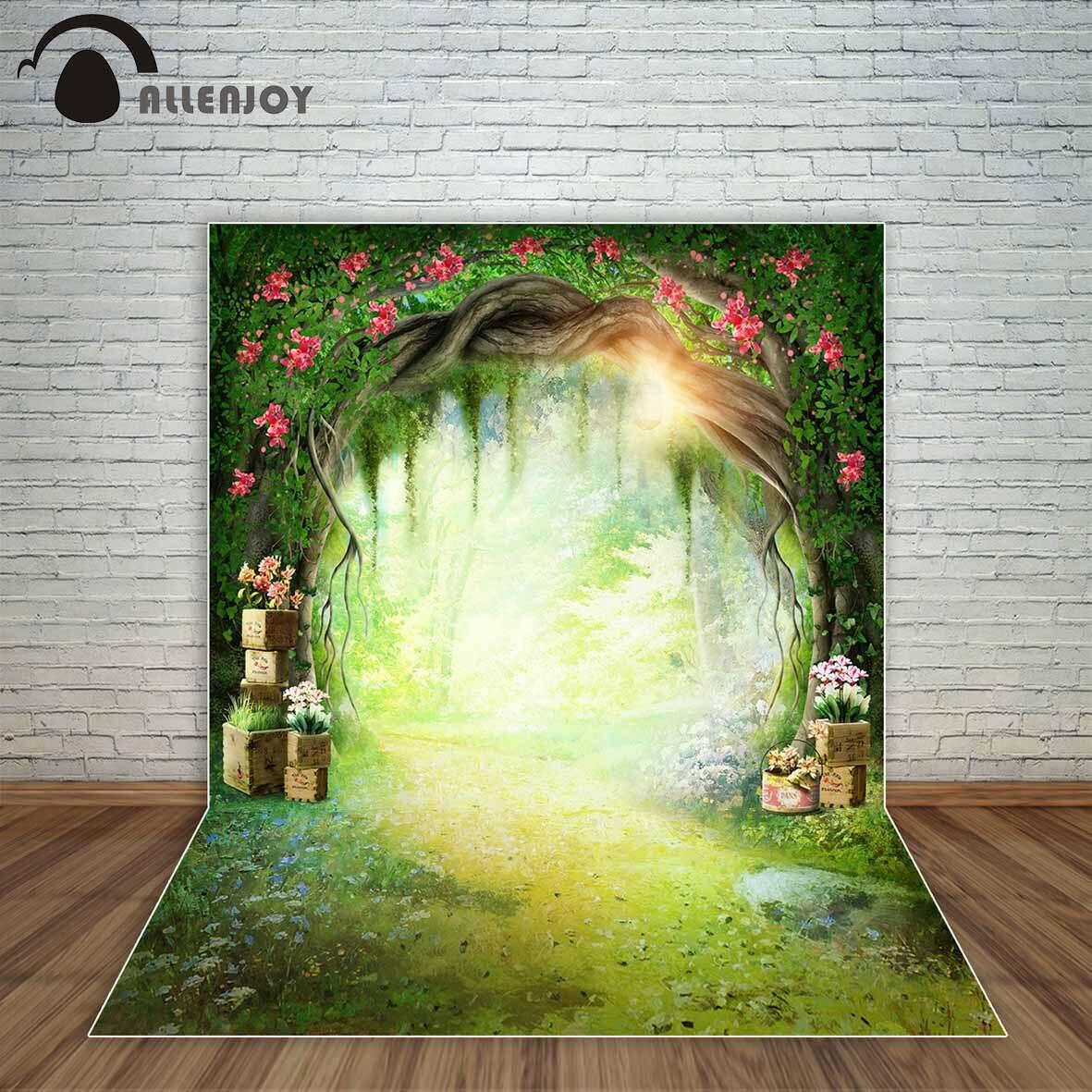 Allenjoy printemps toile de fond grotte soleil fleurs chemin pays des merveilles fond pour enfants fée conte fonds décorations parti