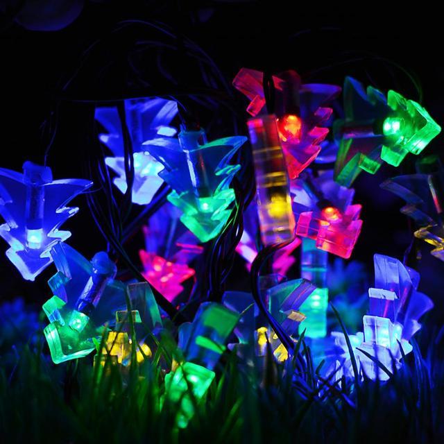 Guirlande Lumineuse Solaire 20led Arbre De Noël Lanterne Extérieure étanche Chaîne Décorative Jour Flash Lumière Jardin