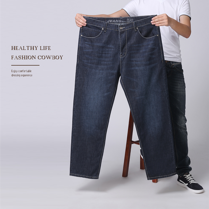 2017 New Arrival Classic Mens Stretch Cotton Denim Jeans Regular Fit Thin And Breathable Elastic Waist Plus Size 48 46 44 42 Hot regular fit plus size mens straight jeans classic blue drawstring waist oversize denim trousers s 7xl 29 48