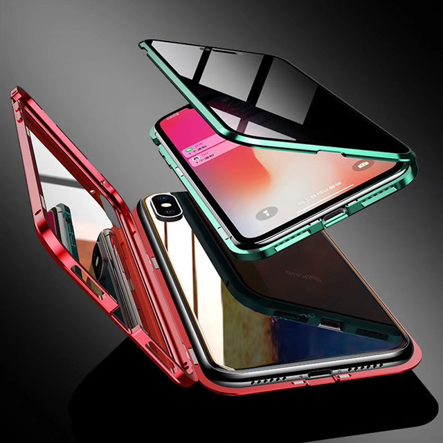 Aluminum Armor Magnetic Metal Frame Case for iPhone 7 8 Plus Case 9H Privacy Double-side glass Cover for iPhone X XR XS Max Capa