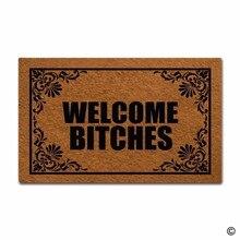 Funny Printed Doormat Welcome Mat Bitches Door Decorative Home Indoor Outdoor Non-woven Fabric Top 18x30